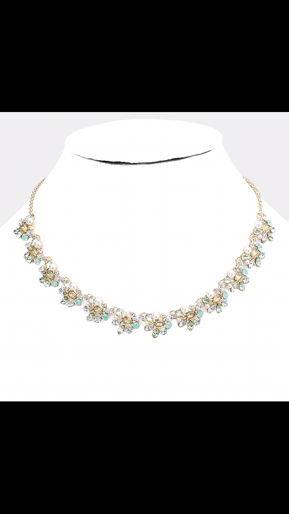 Thin Stone Floral Necklace - Mint