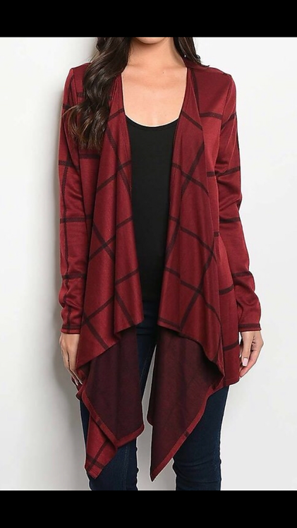 Burgundy Stripe Cardigan