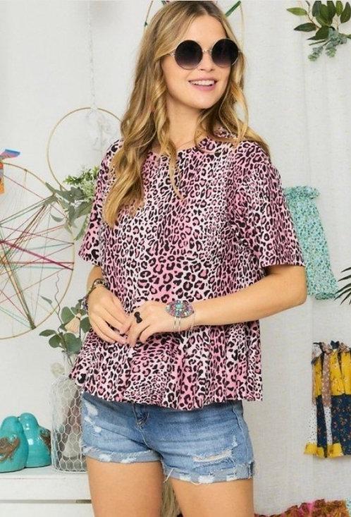 Pink Leopard Drop Ruffle Shirt