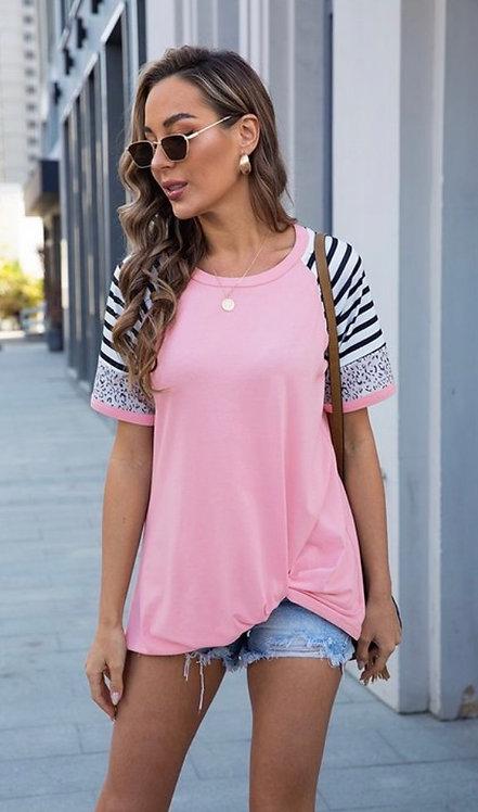 Pink Stripe Leopard Short Sleeve