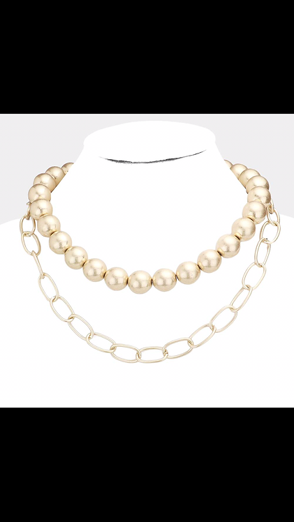 Layered Ball Necklace - Gold