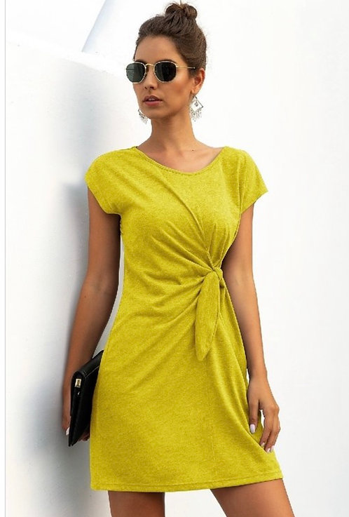 Side Tie Dress - Yellow