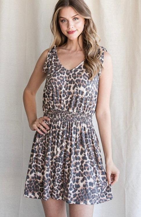 Leopard Shoulder Tie Dress