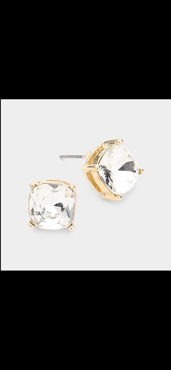 Stud Earrings - Gold Clear
