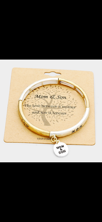 Mom and Son Message Bracelet