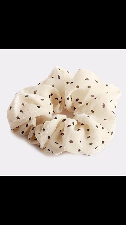 Polka Dot Scrunchie - Ivory