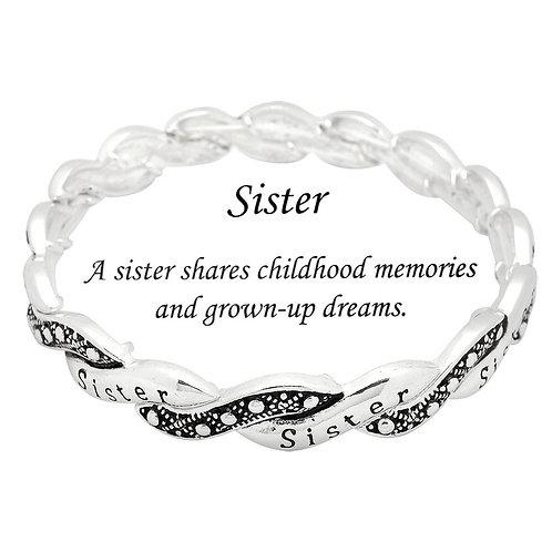 Sister Stretch Bracelet - Silver