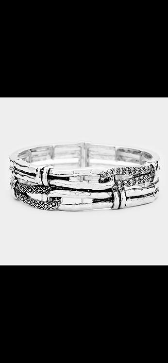 Metal Pave Stretch Bracelet - Silver