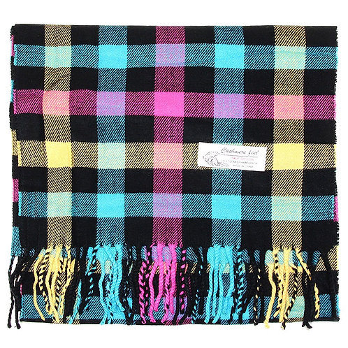Cashmere Plaid Winter Scarf - Black Multi