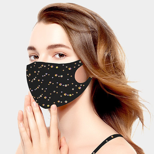Hologram Sticker Bling Mask - Black