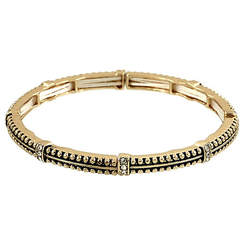 Thin Stretch Pave Stackable - Gold