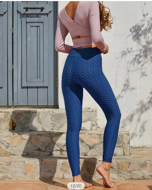 Textured Leggings - Blue PLUS
