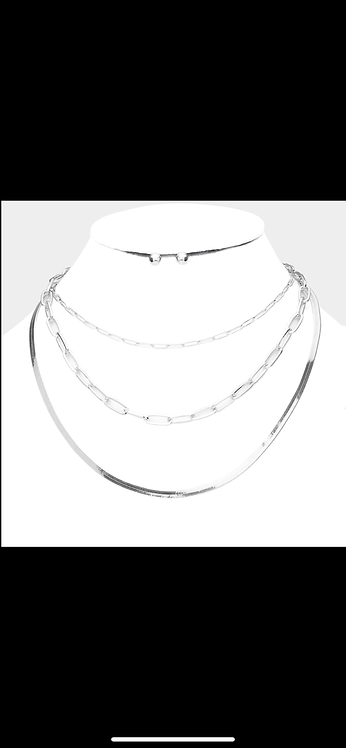 Triple Chain Layered Necklace - Silver