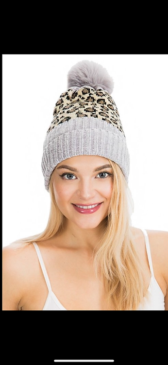 Light Gray and Ivory Leopard Poof Hat