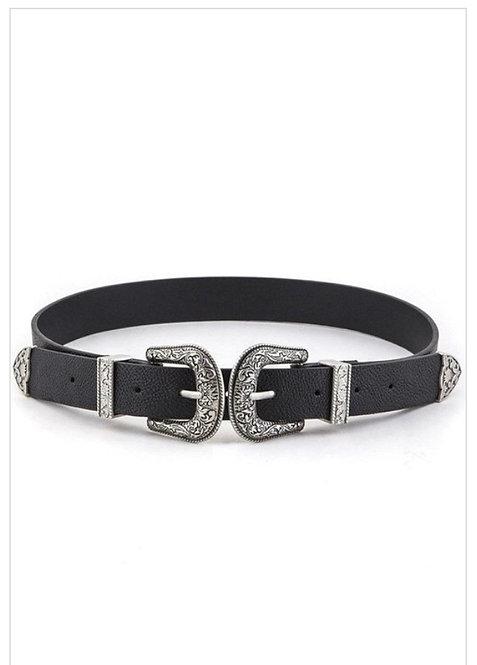 Double Buckle Skinny Belt - Black