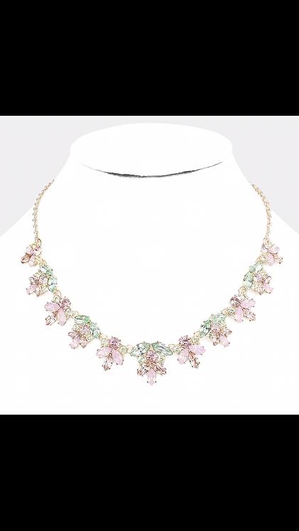 Gem Leaf Necklace - Pink