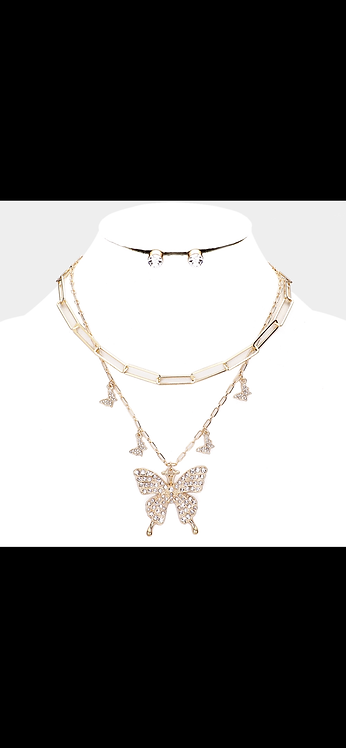 Bling Butterfly Layered Necklace - Gold