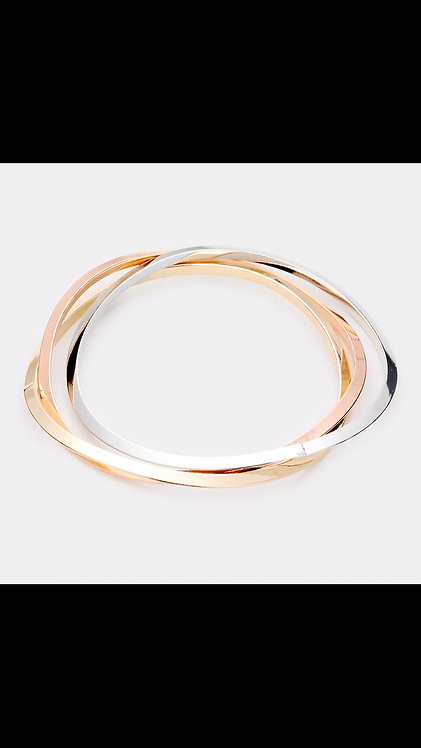 Thin Metal Bangle Set - Tri Color