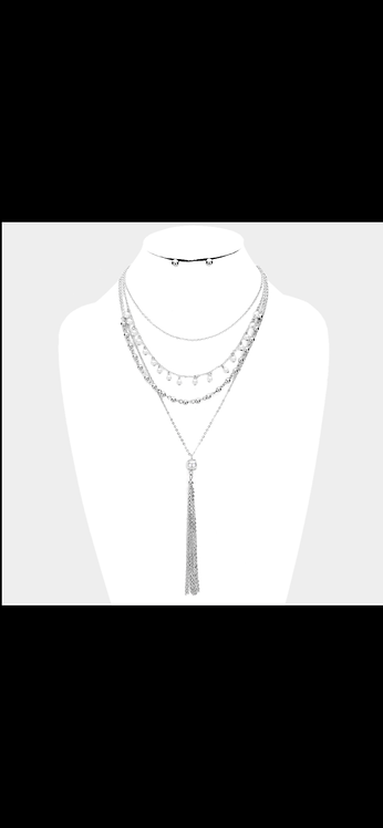 Layered Pearl Necklace - Silver