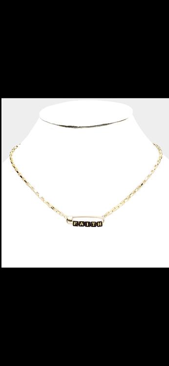 Faith Safety Pin Necklace - Black