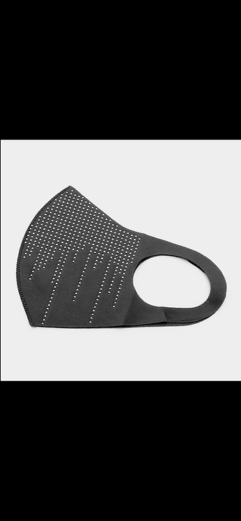 Scattered Stud Bling Mask - Black