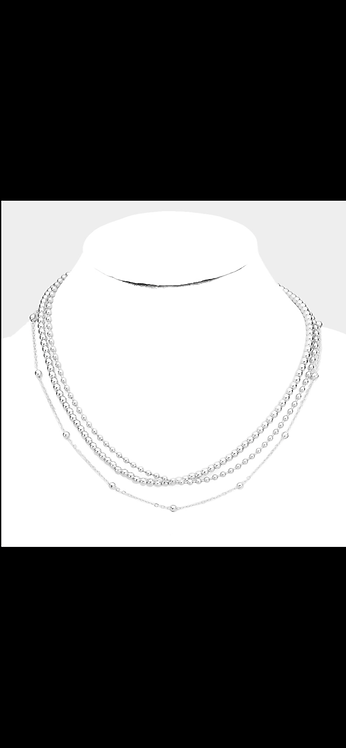 Layered Ball Metal Necklace - Silver