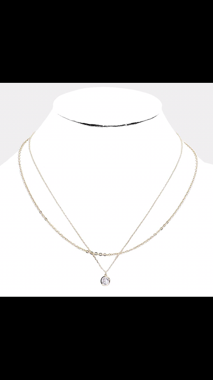 Layered CZ Chain Solitaire - Gold