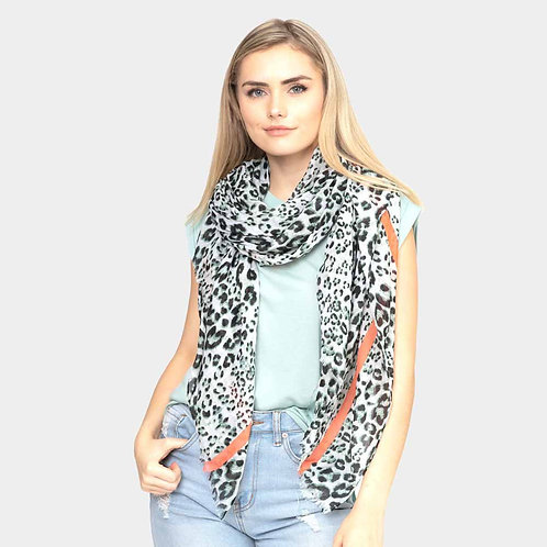 Leopard Oblong Scarf - Coral