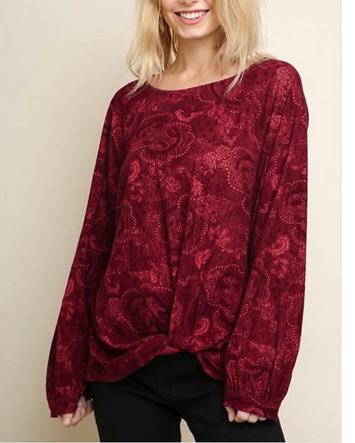 Floral and Paisley Velvet Top - Burgundy