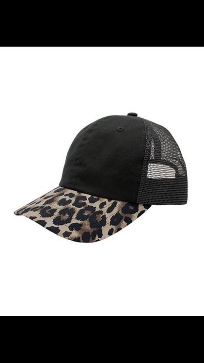 Leopard Trim Baseball Hat - Khaki