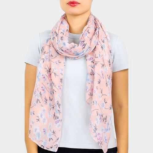 Floral Oblong Scarf - Pink