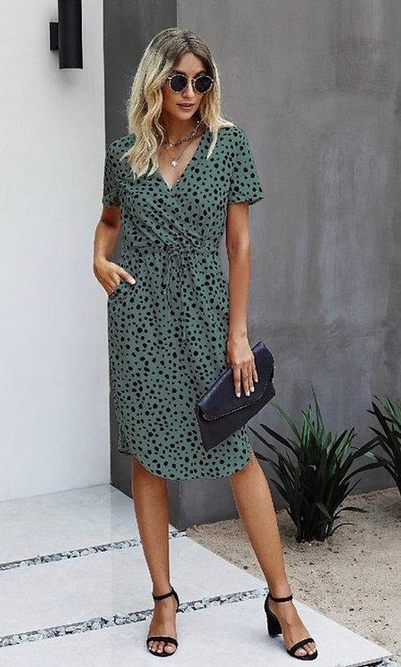 Sage Leopard Midi Dress