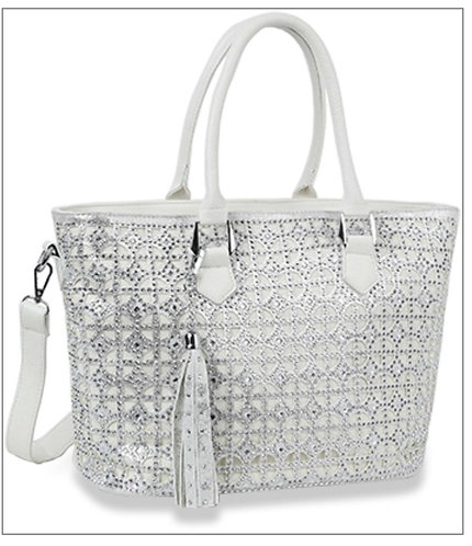 White Super Bling Handbag