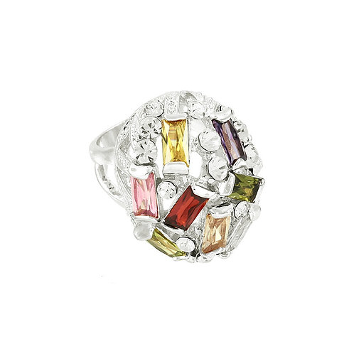 Multi-Color Cocktail Ring - Silver