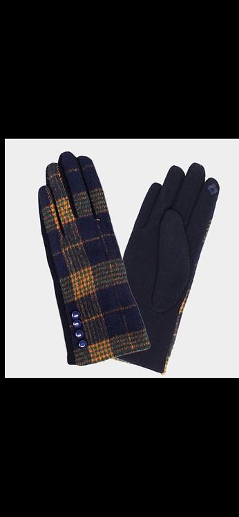 Plaid Button Glove - Navy