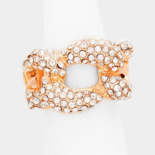 Bling Woven Cluster Stretch Ring - Rose Gold