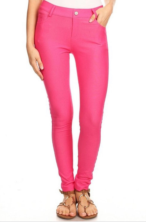 Faux Jean Leggings - Fuchsia