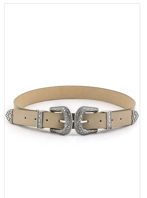 Double Buckle Skinny Belt - Ivory