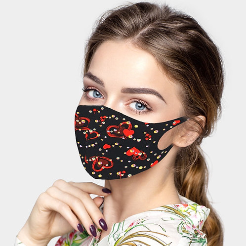 Valentine's Bling Mask - Red Hearts