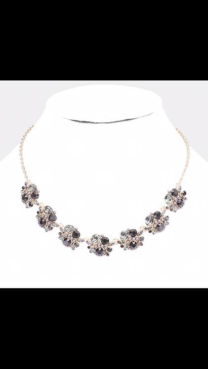 Floral Gem Pearl Necklace - Black
