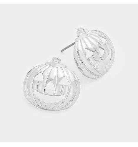 Pumpkin Stud Earring - Silver