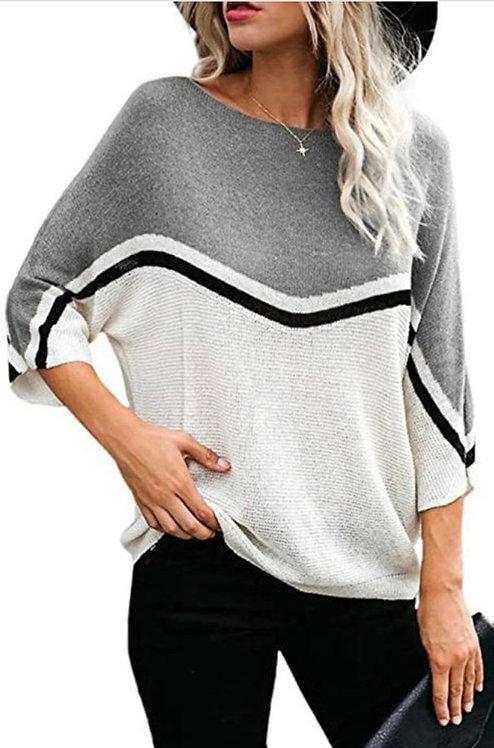 Gray Colorblock Lightweight Sweater