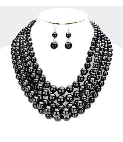 Layered Pearl Statement Necklace - Black