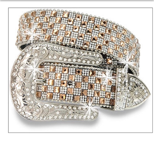 Rhinestone Covered Belt - Coffee