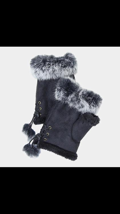 Solid Fur Fingerless Gloves - Black