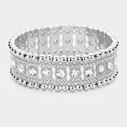 Crystal Round Stretch Bracelet - Silver