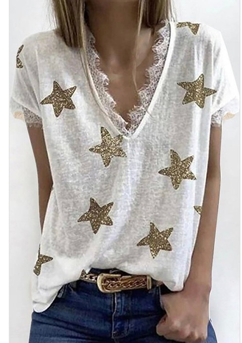 White Star Lace Short Sleeve