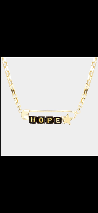 Hope Safety Pin Necklace - Black