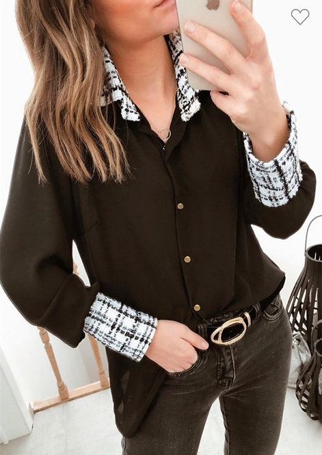 Tweed Detail Black Shirt