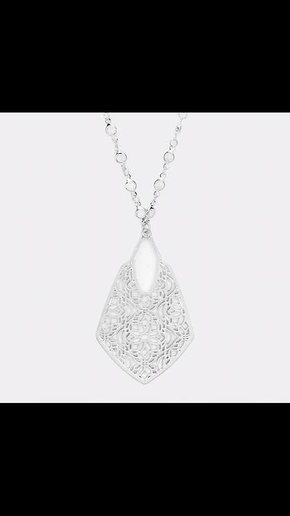 Metal Filigree Long Necklace - Silver